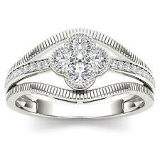 Genuine 0.33 Carat 10K White Gold Natural Round Cut Diamond Engagement Ring HI
