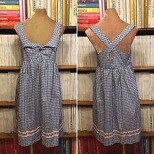 ORLA KIELY dress UK 12-14 US 8-10 blue white gingham bow summer designer