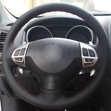 DIY Steering Wheel Cover Black Leather Hand Sewing For Mitsubishi ASX Pajero