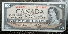 Very Nice 1954 Canada 100 Dollar Note No Rips, Tears or Pinholes