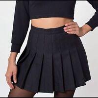 Womens American Apparel Black* Tennis Button Pleated Skirt