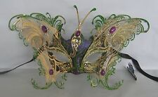 Green Purple Butterfly Venetian Party Masquerade Mask Gold Metal Decoration NEW