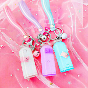 Liquid Floating Milky Pig Key Bottle Ring Clip On Backpack Purse Chain Pendant