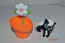 Littlest Pet Shop~#85~Skunk Squirrel~Black White~Blue Eyes~Orange Flower Pot