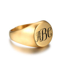 Size 9 Monogram Signet Ring Stainless Steel Personalised Fathers Gift Husband