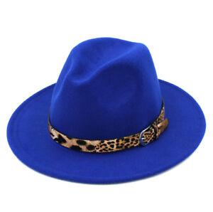 Women Wool Blend Panama Hat Wide Brim Felt Fedora Caps Sexy Leopard Leather Band