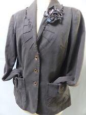 Veste blazer M/L marron LA FÉE MARABOUTÉE coton stretch bohème chic jacket
