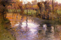 Oil painting Frits Thaulow - an orchard on the banks of a river nice landscape