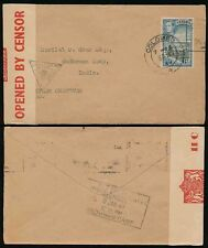 CEYLON to WADHUWAN CAMP INDIA 1940 CENSORED +SAVINGS CERTS SLOGAN BOXED DELIVERY