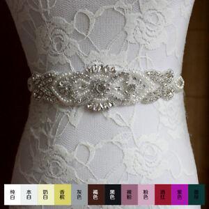 NEW Wedding Dress Belt Bride Bridesmaid Party PromCrystal Diamante Applique Sash