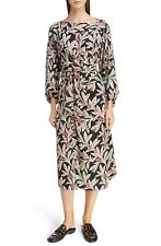 95b7916d6f ISABEL MARANT Etoile Black Pink Floral Print Lisa Front Tie Wrap Midi Dress  34 2