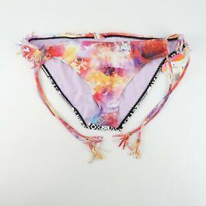 Raisins Bikini Bottom Pink Multi Side Tie Sweet Pea Pant Fringe P784245 Size L