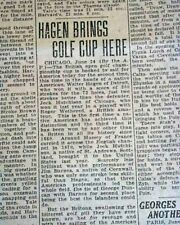 WALTER HAGEN Wins British Open Major Title GOLF Championship 1922 Old Newspaper