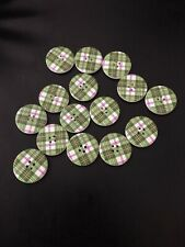 15x Large Green Gingham Wooden Craft Buttons.
