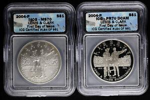 2004 P Lewis Clark Commemorative Silver Dollar Set ICG PR70 DCAM & MS70 FDOI