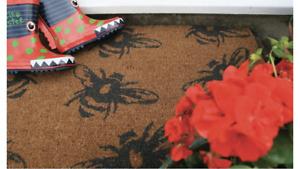 Luxury Designer Natural Fibre Coir Out Door Mat Buzzy Bees Design 45X 75cm