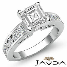 Asscher Cut Channel Set Diamond Engagement Ring GIA H VS2 14k White Gold 1.75 ct