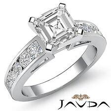 Asscher Corte Juego Canal Anillo de Compromiso Diamante GIA H VS2 14k Oro Blanco