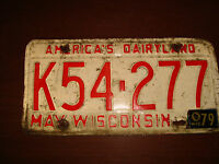 Lot of 2 Vintage Wisconsin License Plates  EX. May 1979 White Red Numbers Plate