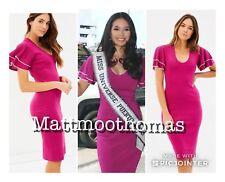 Karen Millen Boutique Celeb Magenta Pencil Bandage Bodycon Knitted MIDI Dress S