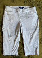 Apt 9 pull on BRYNN capri cropped stretch white pants plus size 14 Petite casual