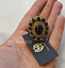 House of Harlow 1960 Wari Ruins Cocktail Ring Gold tone Pave Black - Size 6 NWT