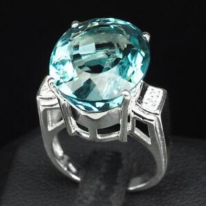 AQUA BLUE AQUAMARINE 15.70 CT. SAPPHIRE 925 STERLING SILVER WOMAN RING SZ 6.5