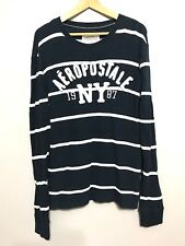 AEROPOSTALE NY 1987 Navy Stripe Pull Over Sweater Size L
