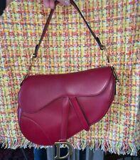Christian Dior Red Saddle Handbag Calfskin Leather Shoulder Bag Purse