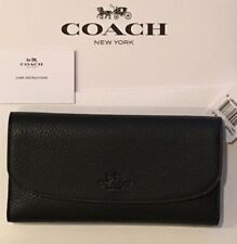 NWT Coach New $250 Black Pebbled Leather Checkbook Wallet Coach Item F56488