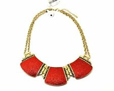 Style&co Gold-Tone Red Glitter Paper Double Chain Frontal Necklace