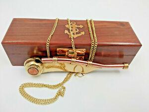 Sifflet marin de bosco en cuivre et laiton avec chainette dans son coffret bois