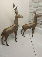 """Vtg Large Brass Deer Reindeer Doe & Buck Statue Figure Brass Decor 16.25"""" 13� Us"""