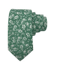 Johnny Madmen Mens Green Floral 100% Cotton Hand Made Slim Tie