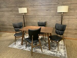 """MCM Set of 5 Dining Set Leather Chairs Mid-Century Dining Table and Chairs 48"""""""