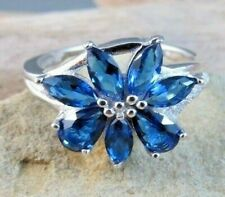 New 1.95 ctw Simulated Blue Sapphire Flower 925 Sterling Silver Ring Size 8 #555