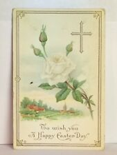 PostCard To Wish You A Happy Easter Day White Rose Posted 4-8-1914 Vintage