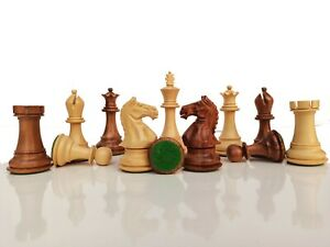 """4"""" Fierce Knight Weighted Golden Rosewood Staunton Chess Pieces with 4 queens"""