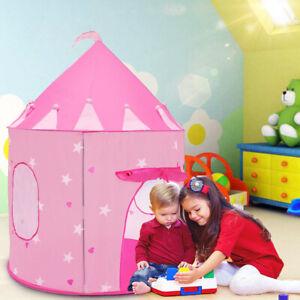 Portable Foldable Folding Pink Princess Play Tent Children Kids Castle