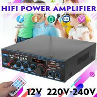 2000W bluetooth Stereo Audio Amplifier Car Home HiFi Music USB FM AMP 12V/220V