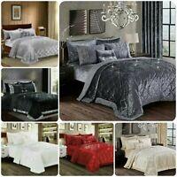 Super soft Crushed Velvet Quilted Bedspread Throw 3 Piece Luxury Bedding Set