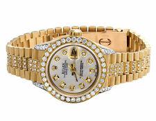 Amazing Ladies 26 MM Rolex President Datejust 18K Yellow Gold Diamond Watch 8 Ct