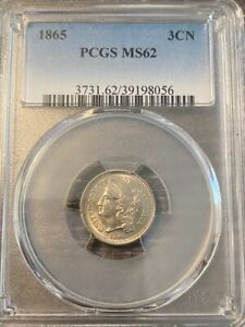 AVC - 1865 THREE CENT NICKEL PCGS - MS62