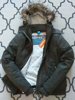 SUPERDRY WOMENS MICROFIBRE WINDBOMBER HOODED JACKET COAT GREEN BNWT windcheater