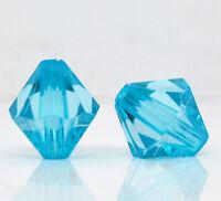 Lot 10 Perles Bleu Intercalaires Bicone toupie Acrylique 12mm x 11mm