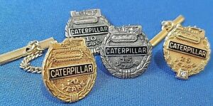 1950s CATERPILLAR TRACTOR CO. LONG SERVICE PINS X 4 - GOLD & SILVER