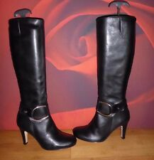 *32* BUFFALO  black leather  heel boots EU 36
