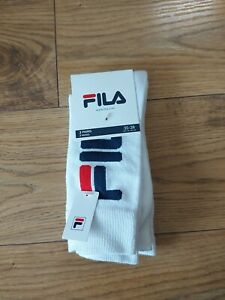 Fila White Logo Mid Length Socks BNWT Size 3-5 UK 35-38 Eu