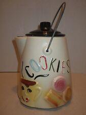 Vintage USA American Bisque Coffee Pot Pitcher Style Cookie Jar Metal Handle