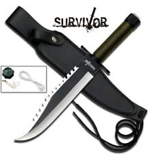 Survivor Brand Sawback Rambo 2 Sharp Bowie Survival Knife + Leather Sheath '